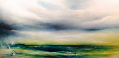 Looming Tranquility, oil on canvas, 92 x 46 cm, 2013